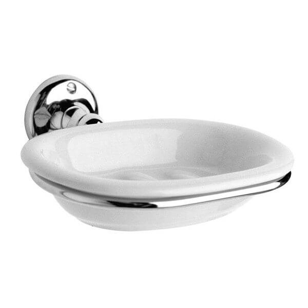 Victrion Ceramic Soap Dish with Chrome Holder
