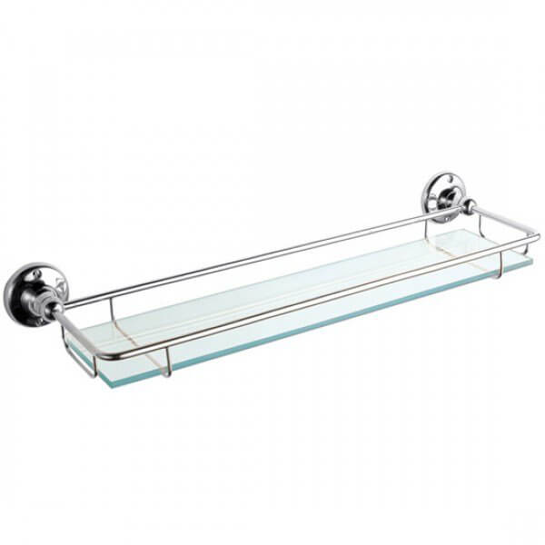 Victrion Chrome Glass Gallery Shelf