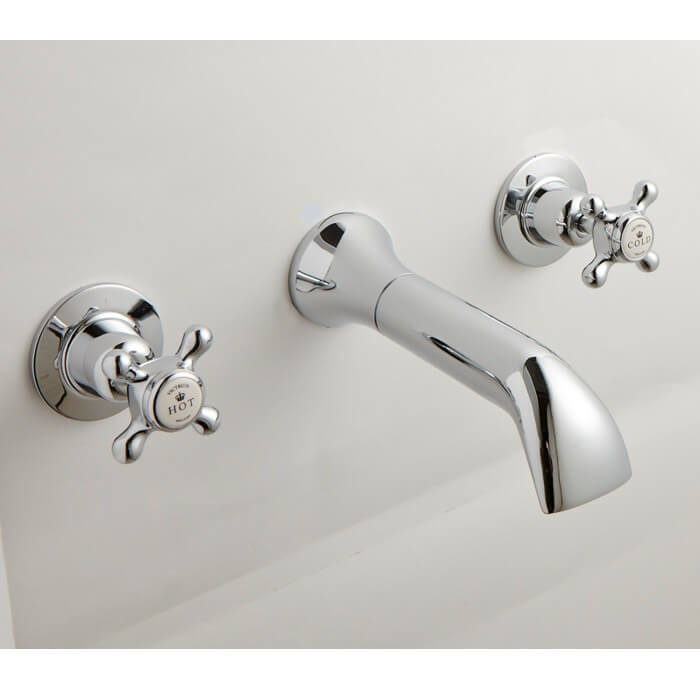 Victrion Crosshead 3 Hole Wall Mounted Bath Filler