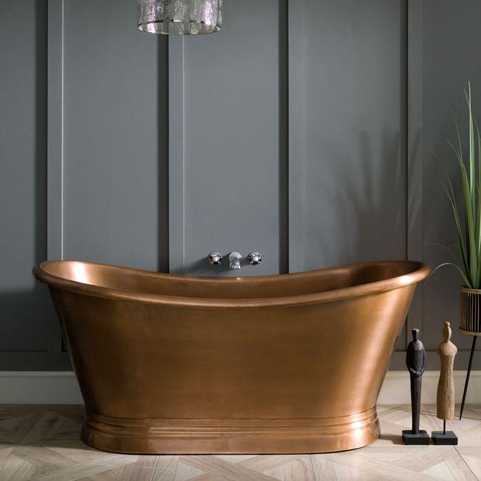Antique Copper Boat Bath